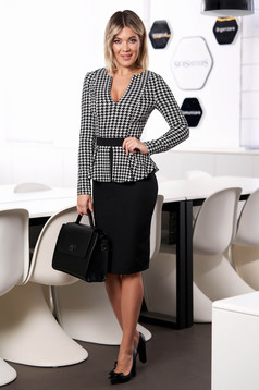 StarShinerS black dress elegant office short cut peplum long sleeved cloth