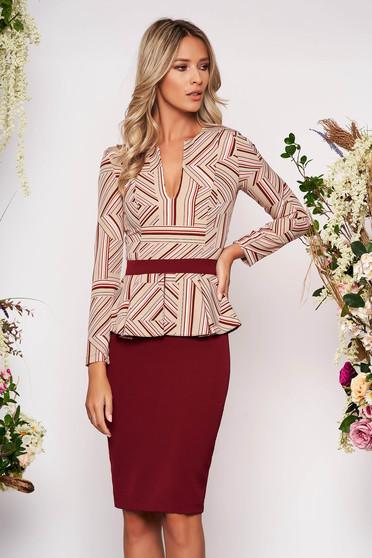 StarShinerS burgundy dress elegant office short cut peplum long sleeved cloth