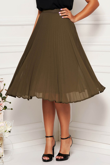 StarShinerS khaki elegant cloche skirt voile fabric folded up high waisted