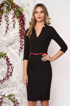 StarShinerS black dress office midi pencil cloth from elastic fabric with v-neckline with 3/4 sleeves