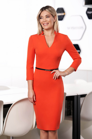 StarShinerS orange dress office midi pencil cloth from elastic fabric with v-neckline with 3/4 sleeves