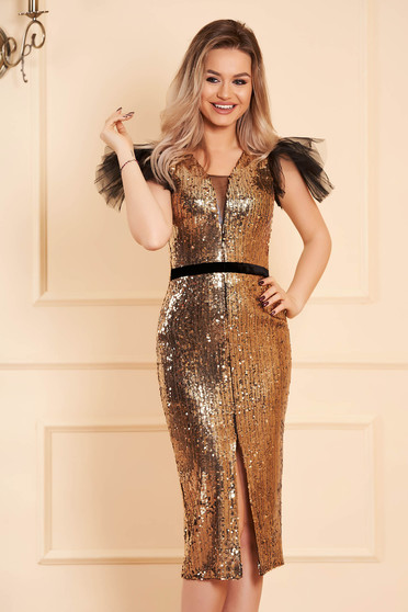 StarShinerS gold dress slit with puffed sleeves with net accessory occasional midi pencil with sequins