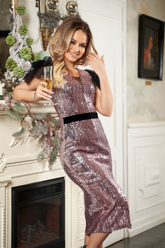 StarShinerS lightpink dress slit with puffed sleeves with net accessory occasional midi pencil with sequins
