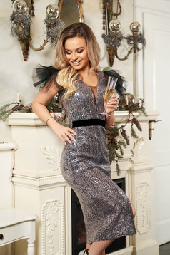 StarShinerS silver dress slit with puffed sleeves with net accessory occasional midi pencil with sequins