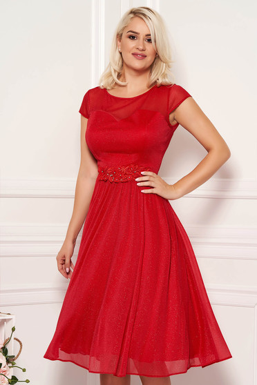 Red dress occasional midi cloche with embroidery details with glitter details from tulle