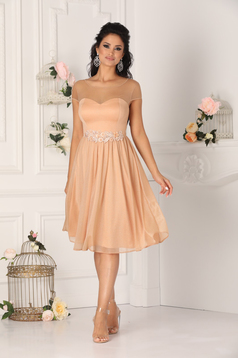 Cappuccino dress occasional midi cloche with embroidery details with glitter details from tulle