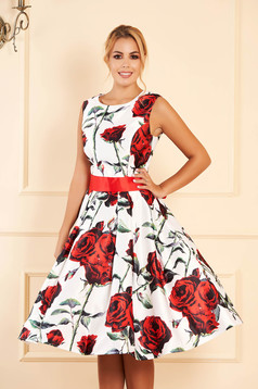 White occasional cloche dress from satin with floral print accessorized with tied waistband