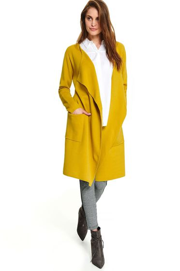 Yellow cardigan casual long with front pockets accessorized with tied waistband