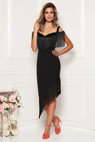 Occasional elegant asymmetrical pencil black cloth dress with straps with fringes