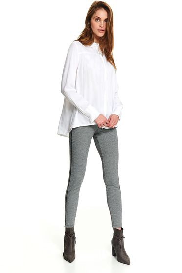 White women`s shirt casual short cut long sleeve with buttons