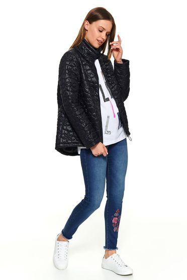 Black short cut long sleeved casual jacket with pockets with turtle neck and easy cut