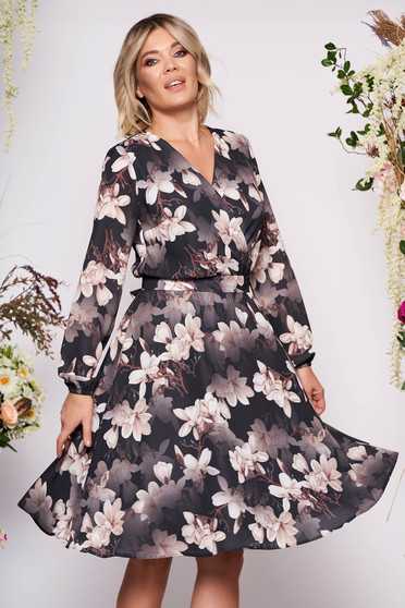 StarShinerS black dress occasional midi cloche from veil fabric with floral print with v-neckline wrap over front detachable cord