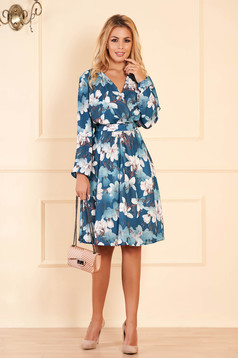 StarShinerS turquoise dress occasional midi cloche from veil fabric with floral print with v-neckline wrap over front detachable cord