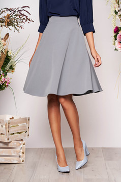 StarShinerS grey elegant cloche skirt high waisted slightly elastic fabric office