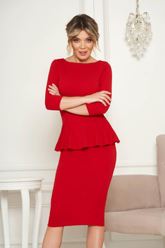 StarShinerS red office midi pencil dress from elastic fabric with frilled waist
