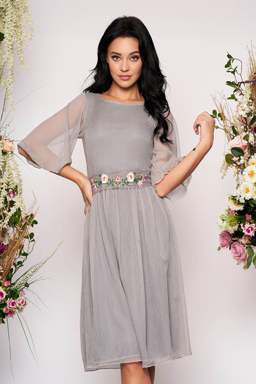 StarShinerS grey dress occasional midi cloche from veil fabric with 3/4 sleeves transparent sleeves detachable cord