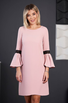 StarShinerS lightpink dress elegant short cut cloth neckline with 3/4 sleeves with bell sleeve with embroidery details