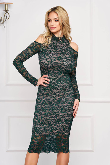 StarShinerS green dress occasional midi laced with turtle neck naked shoulders from elastic fabric long sleeved