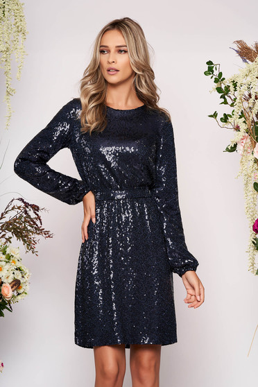 StarShinerS darkblue dress occasional short cut cloche with sequins long sleeved with elastic waist detachable cord