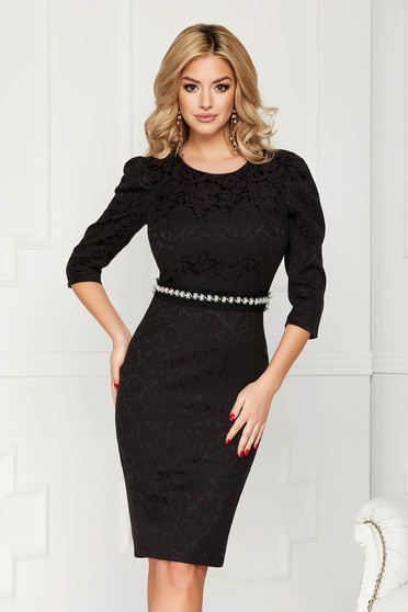 StarShinerS black dress occasional short cut pencil with 3/4 sleeves jacquard detachable cord