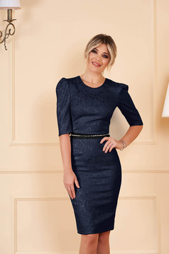 StarShinerS darkblue dress occasional short cut pencil with 3/4 sleeves jacquard detachable cord