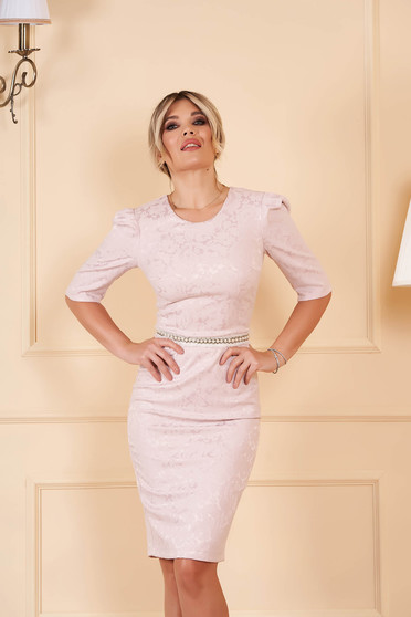 StarShinerS lightpink dress occasional short cut pencil with 3/4 sleeves jacquard detachable cord