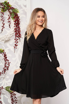 StarShinerS black dress occasional midi cloche airy fabric with elastic waist long sleeved wrap over front