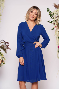 StarShinerS blue dress occasional midi cloche airy fabric with elastic waist long sleeved wrap over front