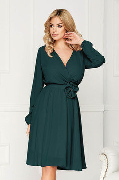 StarShinerS green dress occasional midi cloche airy fabric with elastic waist long sleeved wrap over front