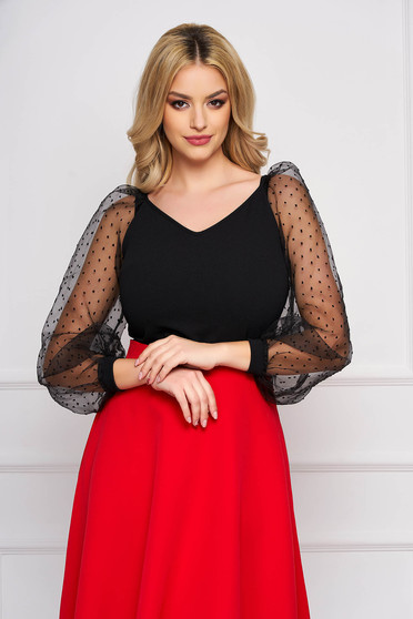 StarShinerS black women`s blouse with tented cut with v-neckline with puffed sleeves
