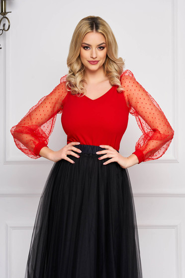 StarShinerS red women`s blouse with tented cut with v-neckline with puffed sleeves