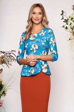 StarShinerS lightblue elegant short cut women`s blouse peplum from non elastic fabric with floral prints