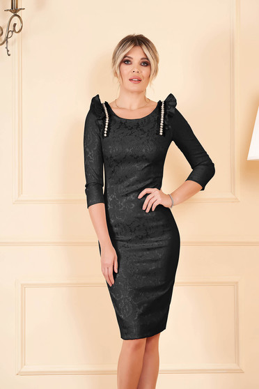 StarShinerS black elegant pencil dress elastic cotton with ruffle details with crystal embellished details