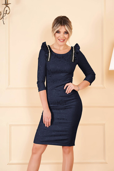 StarShinerS darkblue elegant pencil dress from elastic cotton with ruffle details with crystal embellished details