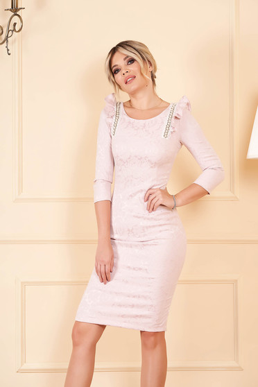 StarShinerS lightpink elegant pencil dress elastic cotton with ruffle details with crystal embellished details