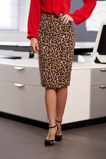 StarShinerS brown skirt office midi pencil with graphic details with inside lining back slit