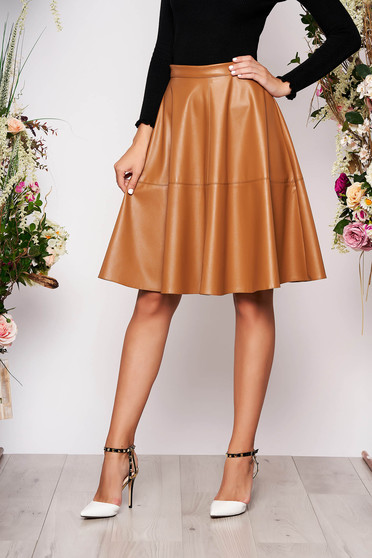 StarShinerS brown casual cloche high waisted skirt from ecological leather midi