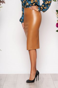 StarShinerS brown pencil skirt from ecological leather basic high waisted