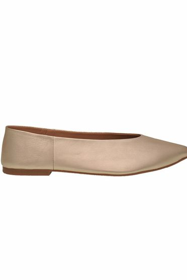 Gold shoes casual low heel slightly pointed toe tip natural leather