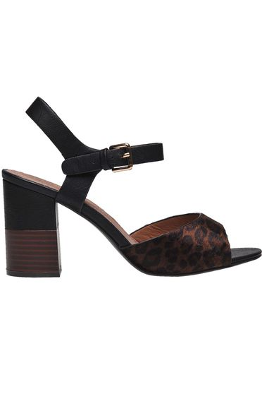 Black sandals casual chunky heel from ecological leather animal print