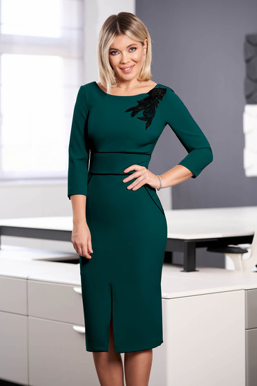StarShinerS dirty green dress elegant midi pencil cloth with 3/4 sleeves with rounded cleavage embroidered