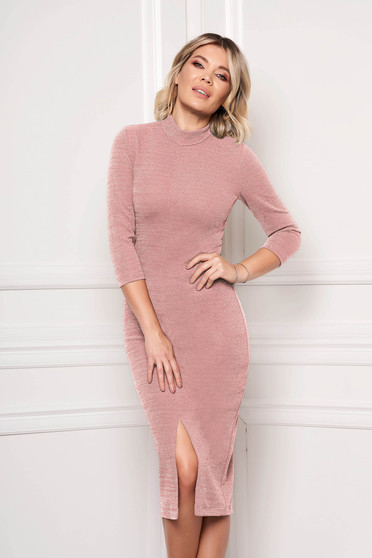 Dress StarShinerS pink occasional pencil midi scuba 3/4 sleeve