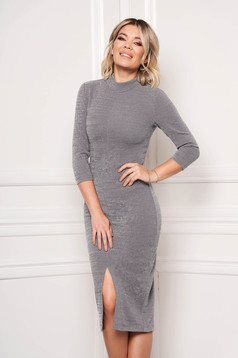 Dress StarShinerS grey occasional pencil midi scuba 3/4 sleeve