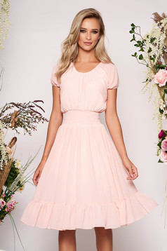 Lightpink dress daily midi cloche from veil fabric pressure-free border elastic held sleeves