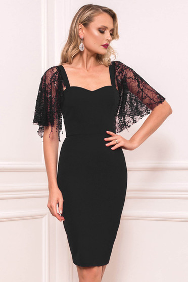 Black dress occasional short cut pencil cloth with butterfly sleeves without clothing