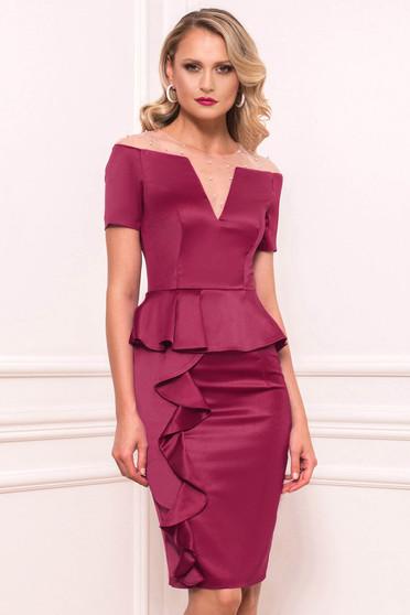 Raspberry dress occasional short cut pencil from satin short sleeves peplum