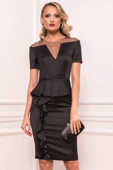 Black dress occasional short cut pencil from satin short sleeves peplum