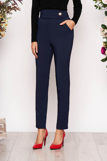 Darkblue trousers elegant long conical with pockets cloth slightly elastic fabric