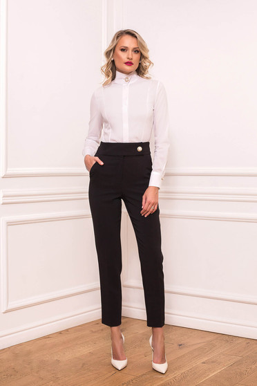 Black trousers elegant long conical with pockets cloth slightly elastic fabric