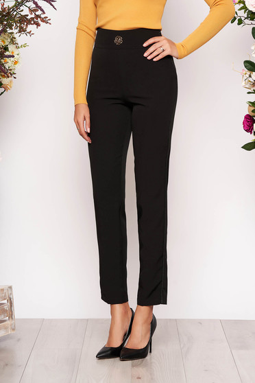 Black trousers elegant straight cloth slightly elastic fabric with pockets